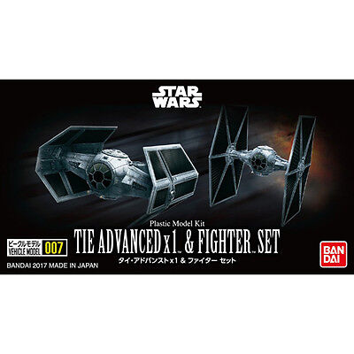 Bandai Star Wars Vehicle Model 007 Tie Advanced x1 & Fighter Set kit Japan