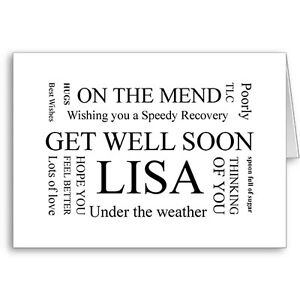 Unique typographic personalised get well soon card gift for Unusual get well gifts