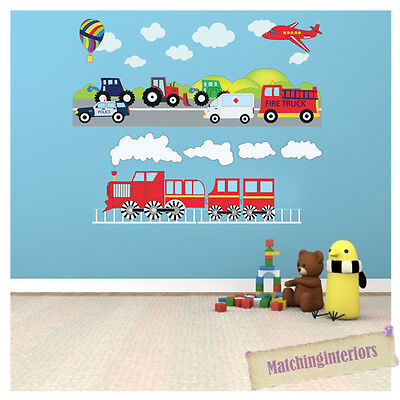 Childrens Transport Vehicles Cars Wall Stickers Decals Nursery Boys Bedroom Kids