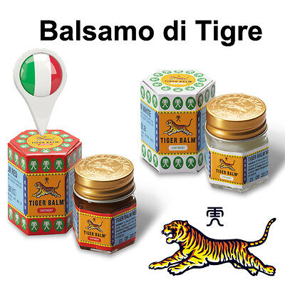 Balsamo di Tigre Rosso Bianco Originale In Italia 19 g. Red Tiger Balm Red White