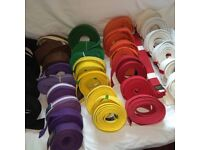 Karate Belts x 35, Black, Brown, Purple, Green, Red, White, Orange, Yellow, From 130cm to 300cm