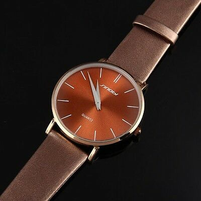 Face Brown Leather Band - Simple SINOBI Brown Leather Band Brown Face Men Boy Quartz Wrist Watch S9141-003