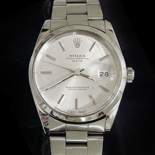 Men Rolex Date Stainless Steel Watch Silver Dial Oyster Band Quickst Model 15000