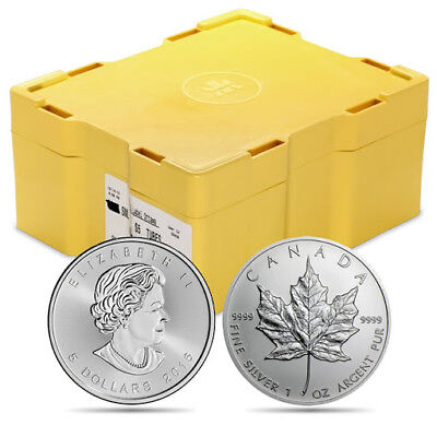 4 Rolls of 25 (100 Coins) - 1 oz Silver Maple Leaf Coins w/FREE Monster Box