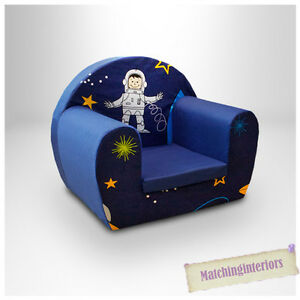 Space Boy Blue Childrens Kids Comfy Foam Chair Toddlers