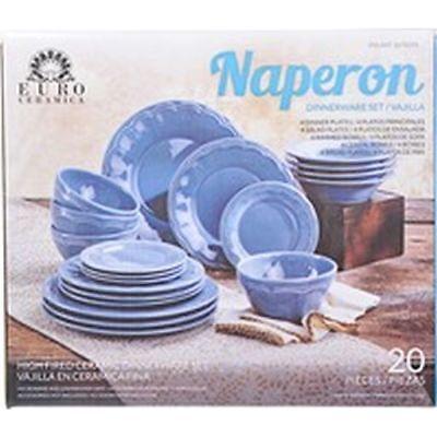 Euro Ceramica Naperon 20 Piece Dinnerware Set Blue High Fired Ceramic