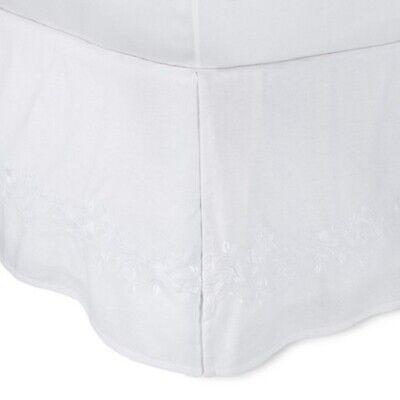 Simply Shabby Chic White Embroidered Linen Blend FULL  Bedskirt