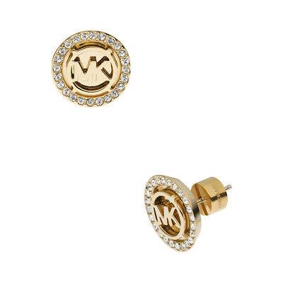 Michael Kors MKJ2941 710 Women's Gold Tone Monogram Crystal Pave Stud Earrings