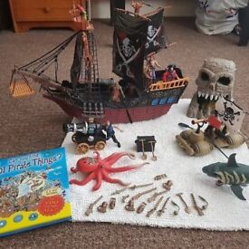 Pirate set (ship, pirates and lots of accessories), 3 storey car park and lots of cars