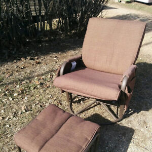 2 glider chairs and foot stools