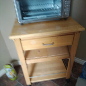 Amherst small table for kitchen holds microwave and toaster oven