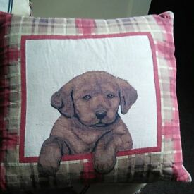 CUSHION WITH DOG ON COVER