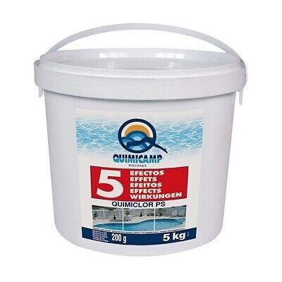Cloro 5 efectos Quimicamp pastillas 5kg especial para mantenimiento de piscinas