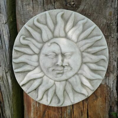 Garden Wall Sun and Moon Large Wall Plaque Frost Resistant Grey