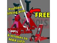 SEALEY TOOLS 2001LE LOW ENTRY TROLLEY JACK + AXLE STANDS DEAL 2TONNE LOW ENTRY ROCKET LIFT RED