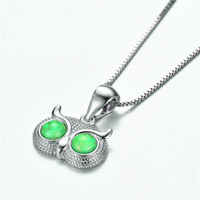 Fashion 925 Silver Jewelry OWL Green Fire Opal Charm Pendant Necklace Chain NEW