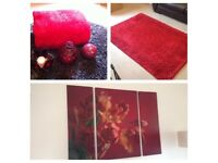 Red home accessories bundle, including rug, canvas and accessories