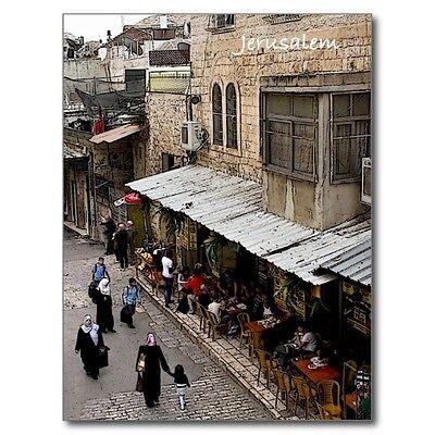 """Cafe & People Walk in Streets of Jerusalem, Israel""  'Postcard' (B-209)"