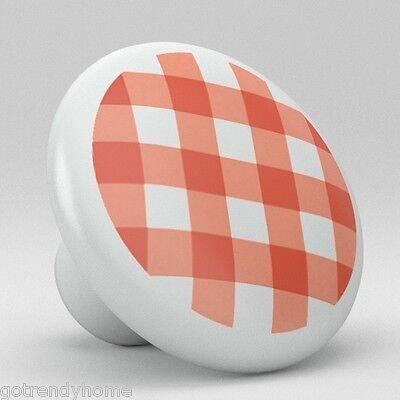 - Red Gingham Pattern Ceramic Knobs Kitchen Drawer Cabinet Vanity Closet Pulls 648
