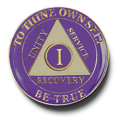 YRS 1-45 Purple&Ivory AA Anniversary Recovery Coin/Medallion Also 24 hr & 18 mos