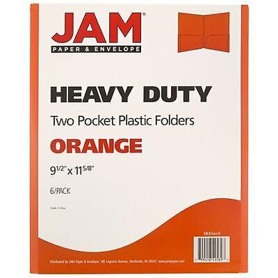 Jam Paper Plastic Heavy Duty Two Pocket Folders Orange 6pack 383hord