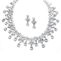 Mariell 151S-CR Cubic Zirconia Wedding Bridal Neck Set +bracelet