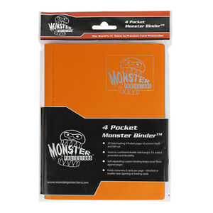 MONSTER-PROTECTORS-4-Pocket-Card-Matte-Orange-Binder-Anti-Theft-Pockets