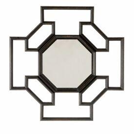 Design mirror in geometrical wooden frame, black