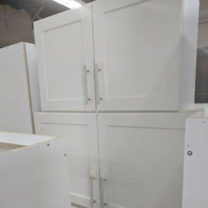 White kitchen and bathroom cabinets for sale, $50.00 each