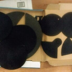 Various silencing drum and cymbal pads