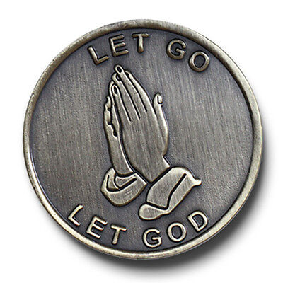 """Praying Hands """"Let Go, Let God"""" Bronze AA/NA12 Step Program Recovery Coin/Chip"""