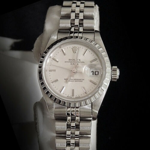 Rolex Date Ladies Stainless Steel Watch Quickset Jubilee Bracelet Silver Dial