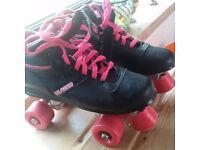 Roller Boots size 5 (old skool Disco!)Rookie Odyssey Black/Pink Quad Skate - roller disco skates