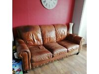 antique brown leather suite