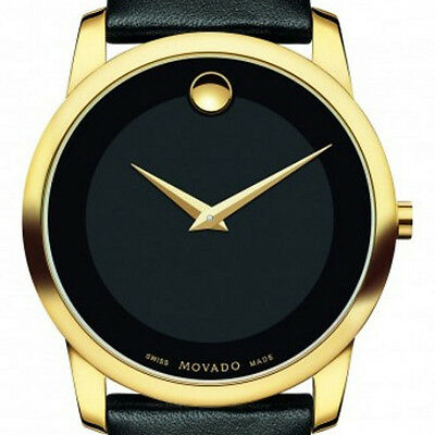 BRAND NEW MOVADO  MUSEUM BLACK DIAL BLACK LEATHER STRAP 0606876