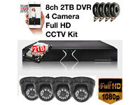 8ch 2TB Full HD CCTV Security Camera Kit with 4 Full HD 1080p 2.4MP Cameras inc all cables NEW