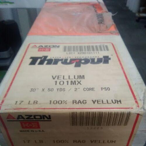 "AZON 17LB RAG VELLUM 101MX 30 X 50 2""CORE"
