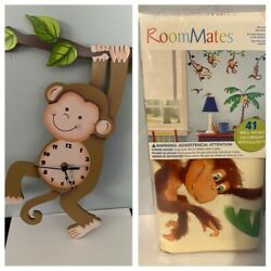 Childrens Decor: Monkey Safari Wall Clock plus Room Mates Wall Decals