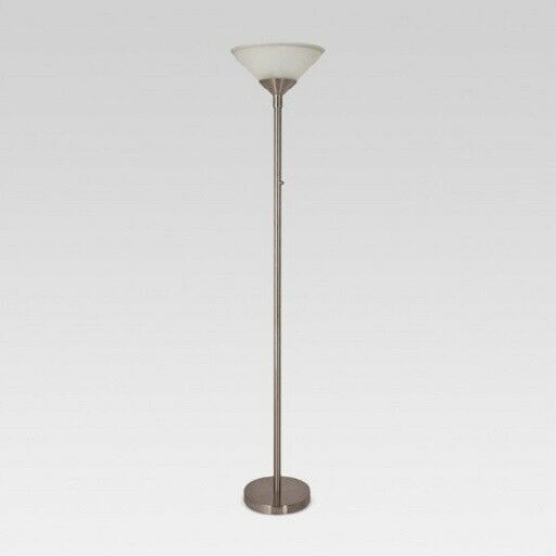 "Threshold Torch Floor Lamp 71"" H Brushed Nickel  Glass Shade"