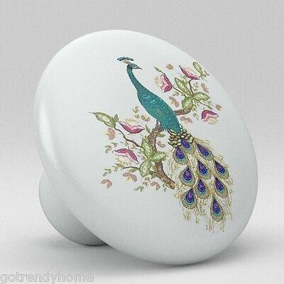 Beautiful Peacock Ceramic Knobs Pulls Kitchen Drawer Cabinet Vanity Closet 379 ()