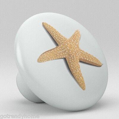 STARFISH Beach Ceramic Knobs Pulls Kitchen Drawer Cabinet closet Vanity 1804 ()