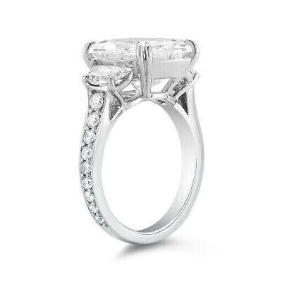 2.80 Ct Radiant Cut Diamond Half Moon Round Pave Engagement Ring H VS2 GIA 14K 1