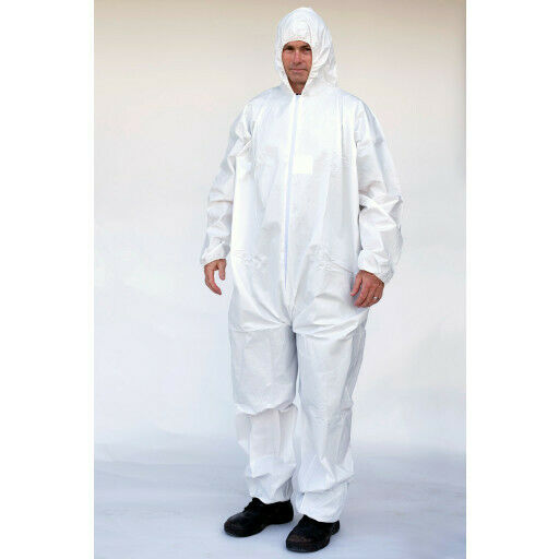 MICROPOUROUS COVERALL WITH HOOD BUNNY SUIT CHEAPER ALTERNATIVE TO TYVEK TY127