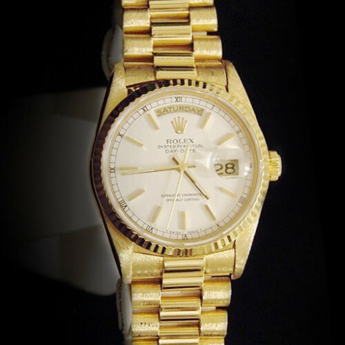 Mens Rolex Day-date President Solid 18k Yellow Gold Watch White Stick Dial 18238