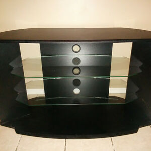 TV stand with glass shelving