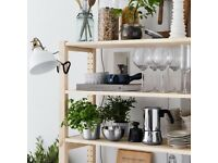 IKEA IVAR Pine Shelf Unit with KNAGGLING Boxes and clip on Basket
