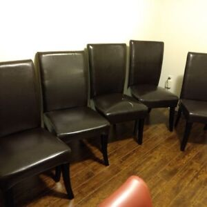 5 brown leather parson dining room chairs $99.00