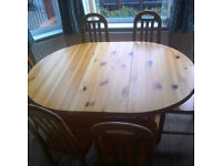 Extendable Pine Dining Table And 6 Chairs