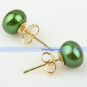 Green Freshwater Pearl Earrings