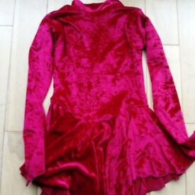 Red velour girls ice skating dress size 1 (suggested age 6 - 8)